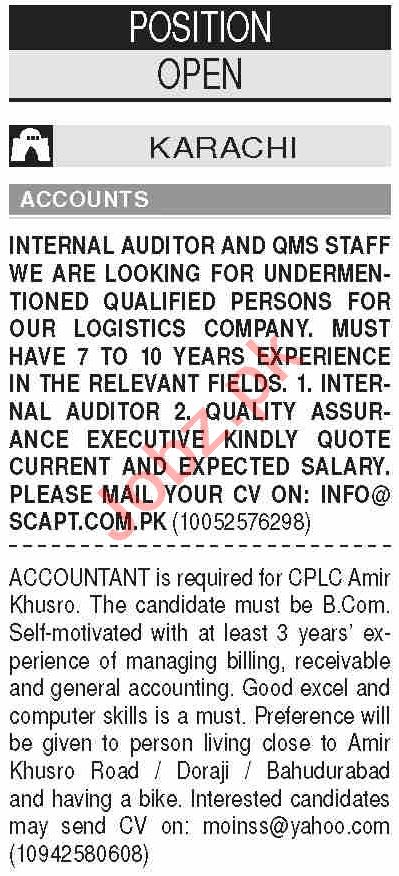 Dawn Sunday Classified Ads 17 May 2020 for Accounts Staff