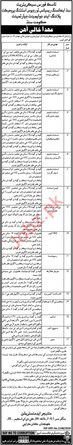 Planning & Development Department Sindh Jobs 2020