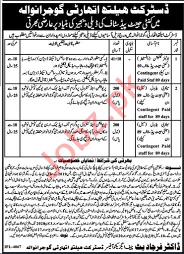 District Health Authority DHA Gujranwala Jobs 2020