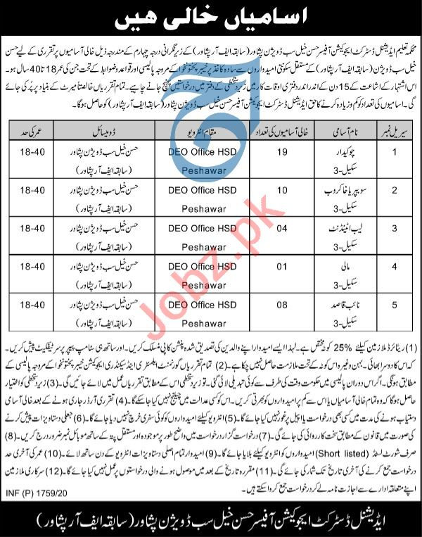 Additional District Education Office Hassan Khel Jobs 2020