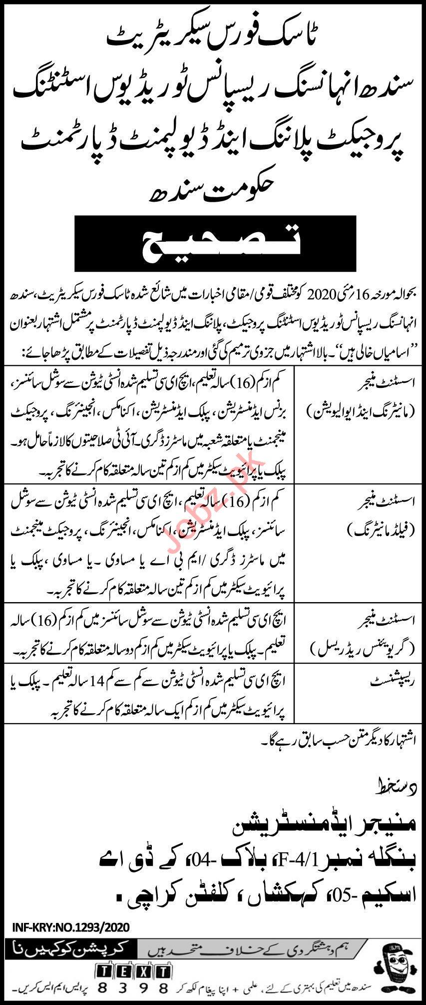 Irrigation Department Task Force Secretariat Sindh Jobs 2020