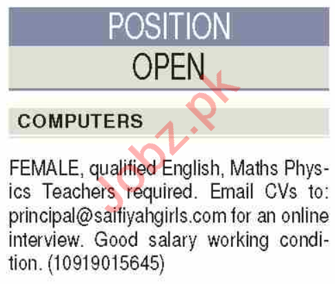 Saifiyah Girls School Karachi Jobs 2020 for Teachers