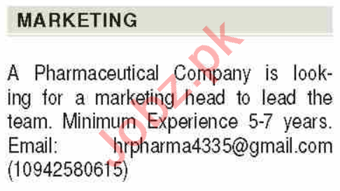 Marketing Head Jobs Career Opportunity in Karachi 2020