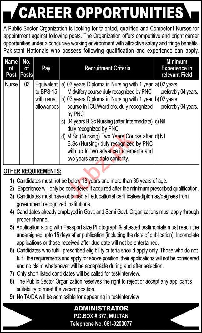 P O Box No 377 Multan Jobs 2020 for Nurse