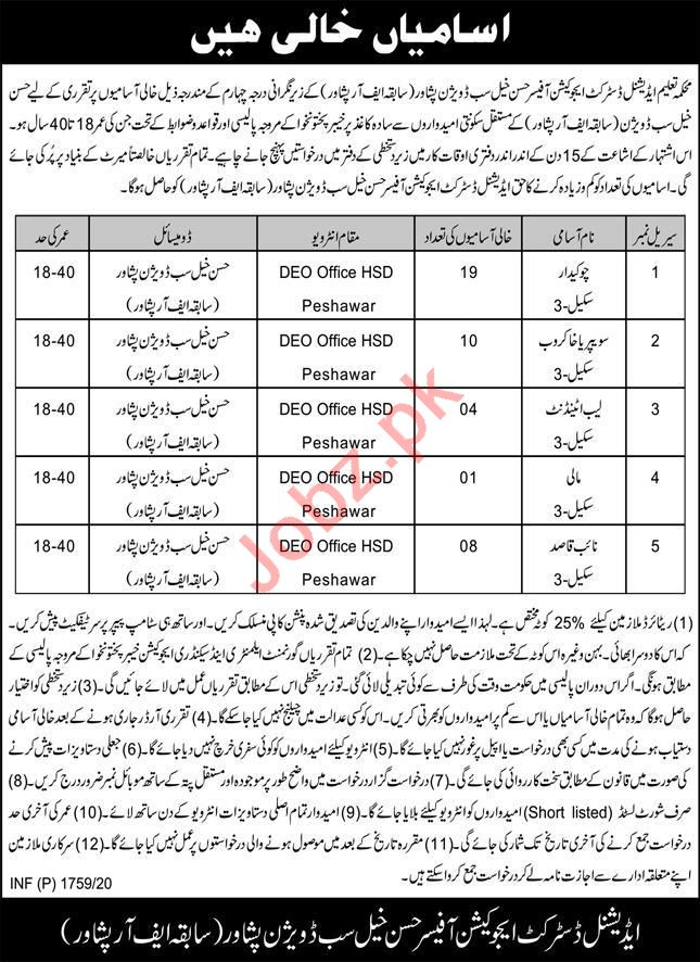 Additional District Education Office DEO Hassan Khel Jobs