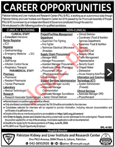 Pakistan kidney & Liver Institute and Research Center Jobs