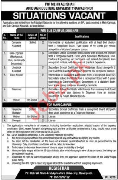 PMAS Arid Agriculture University Rawalpindi Jobs 2020