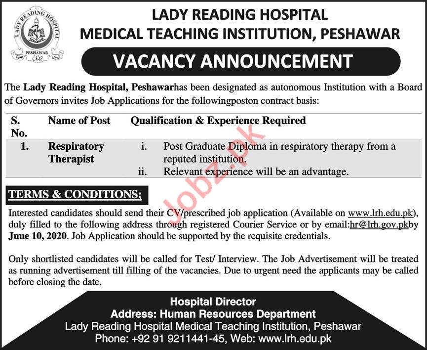 MTI Lady Reading Hospital LRH Jobs 2020 for Therapist