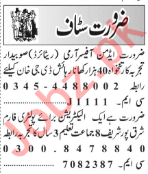 Admin Officer & Electrician Jobs 2020 in Lahore