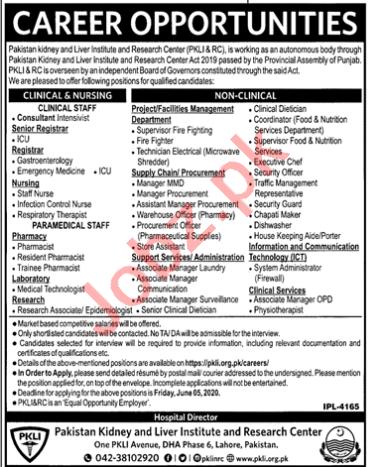 Pakistan kidney & Liver Institute PKLI & RC Lahore Jobs 2020