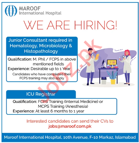 Maroof International Hospital Islamabad Jobs 2020