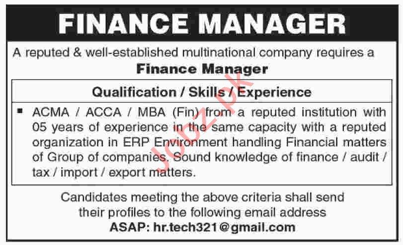 Finance Manager Jobs 2020 in Karachi