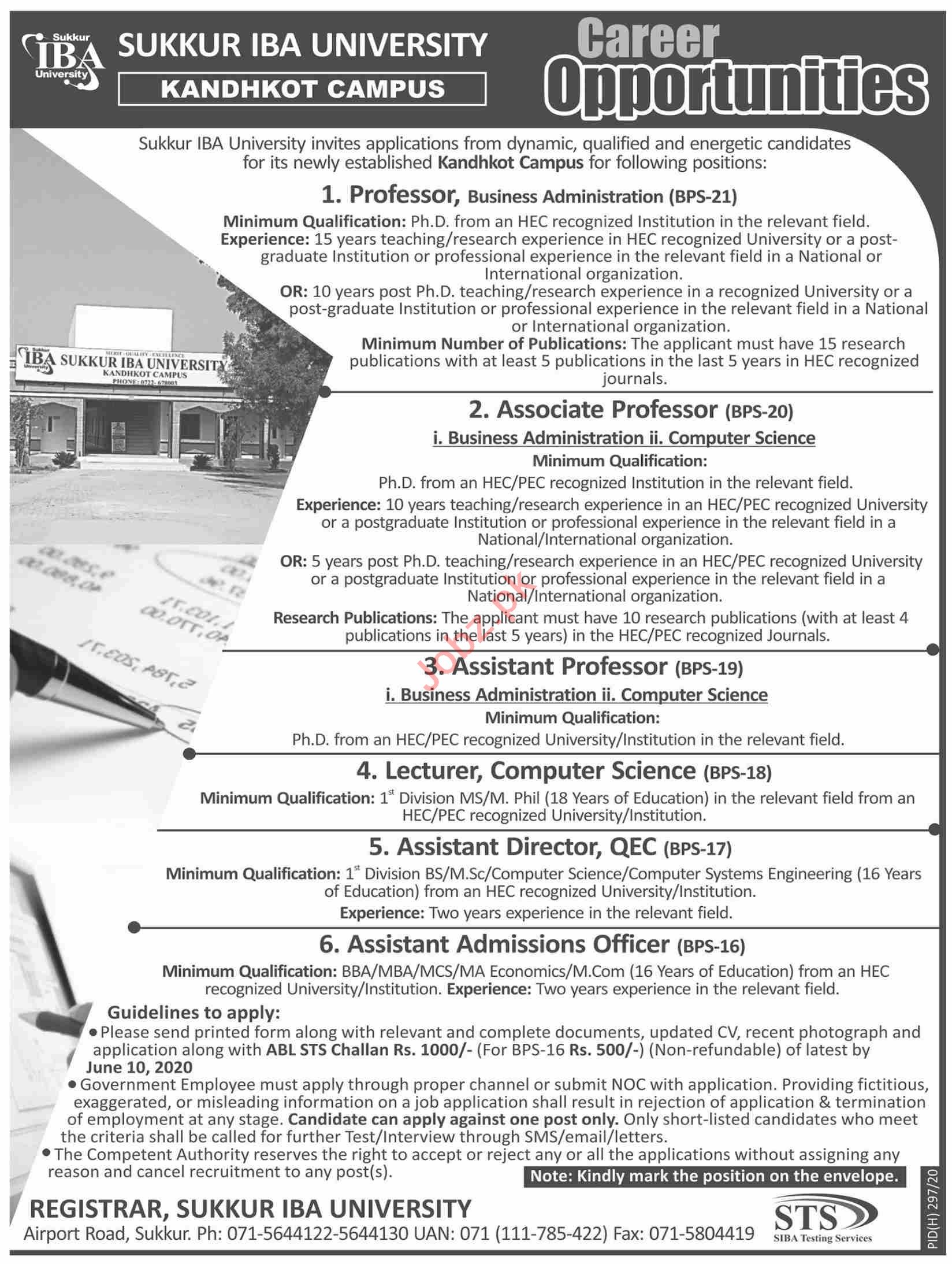 Sukkur IBA University Kandhkot Campus Jobs 2020