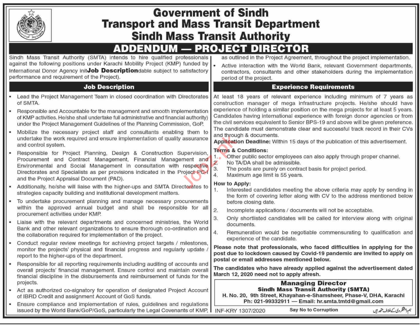 Sindh Mass Transit Authority SMTA Jobs 2020 Project Director