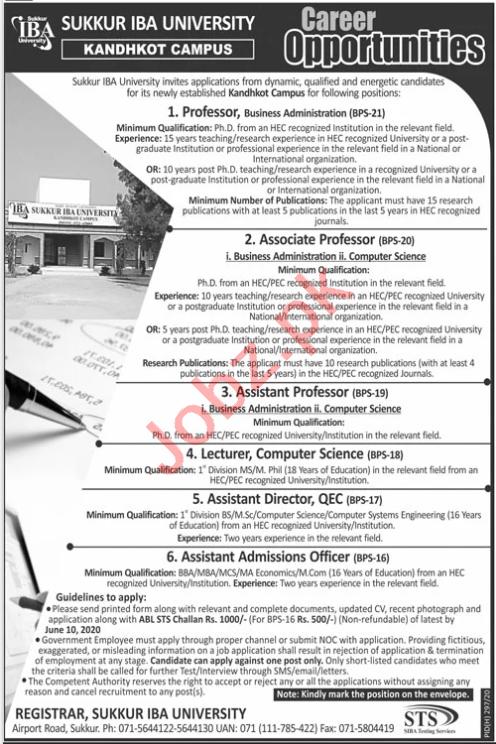 Sukkur IBA University Kandhkot Campus Teaching Staff Jobs