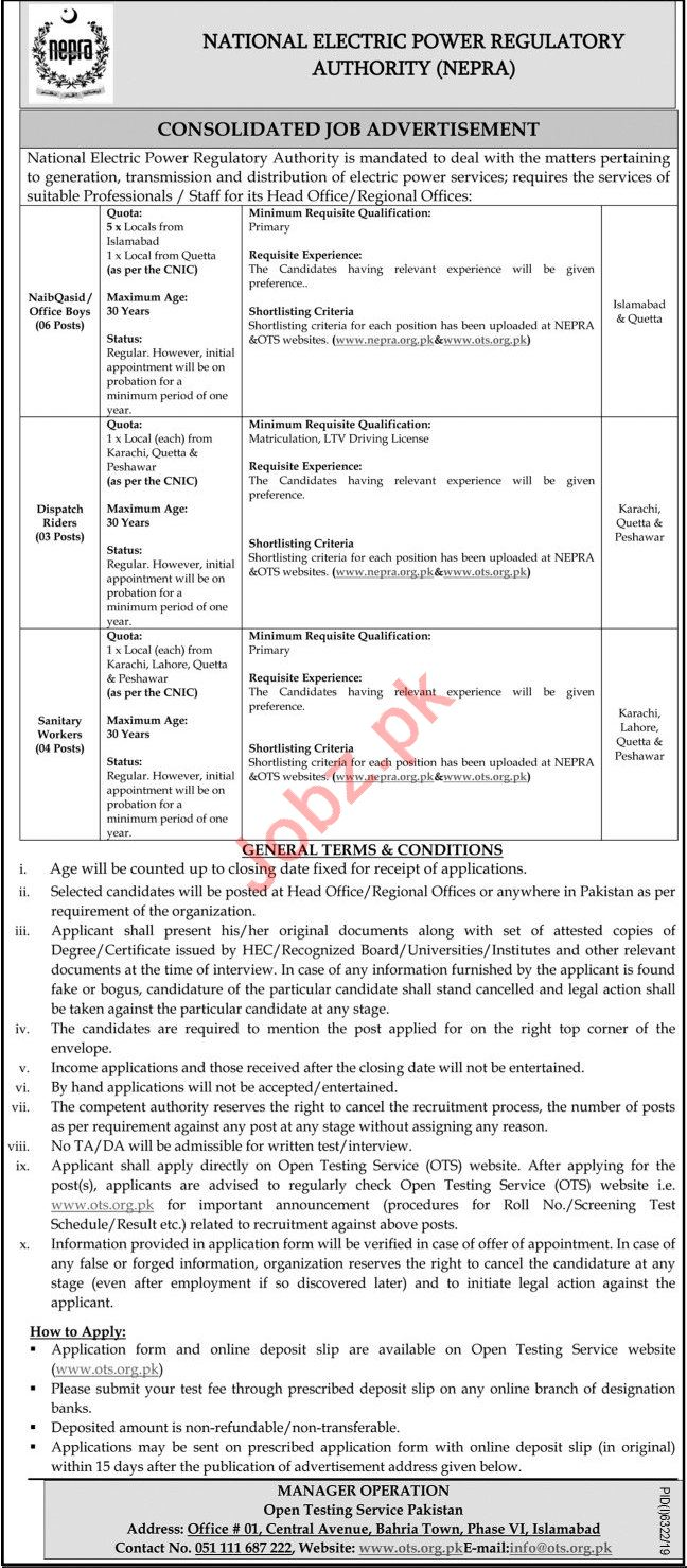 NEPRA National Electric Power Regulatory Authority Jobs 2020