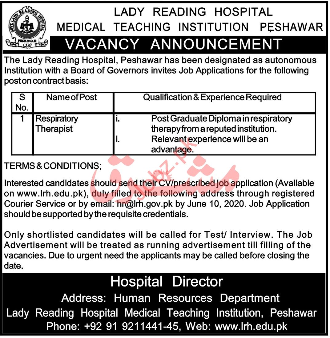 MTI LRH Lady Reading Hospital Jobs 2020