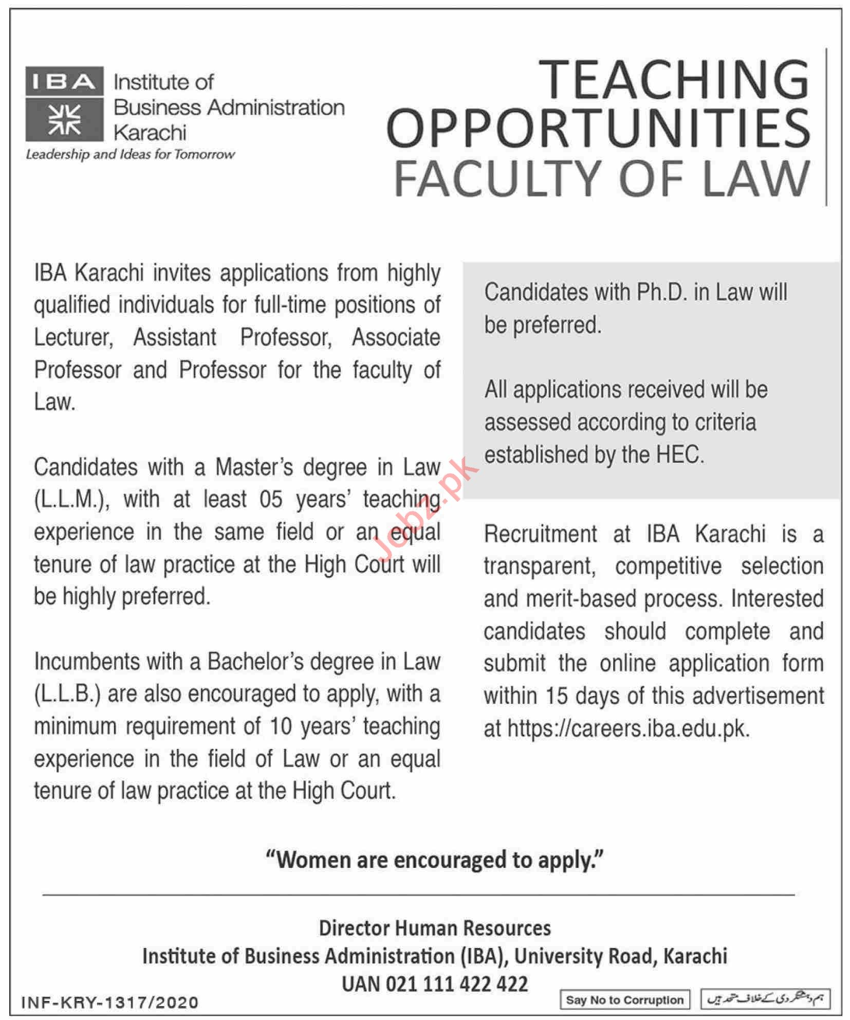 Institute of Business Administration IBA Karachi Jobs 2020