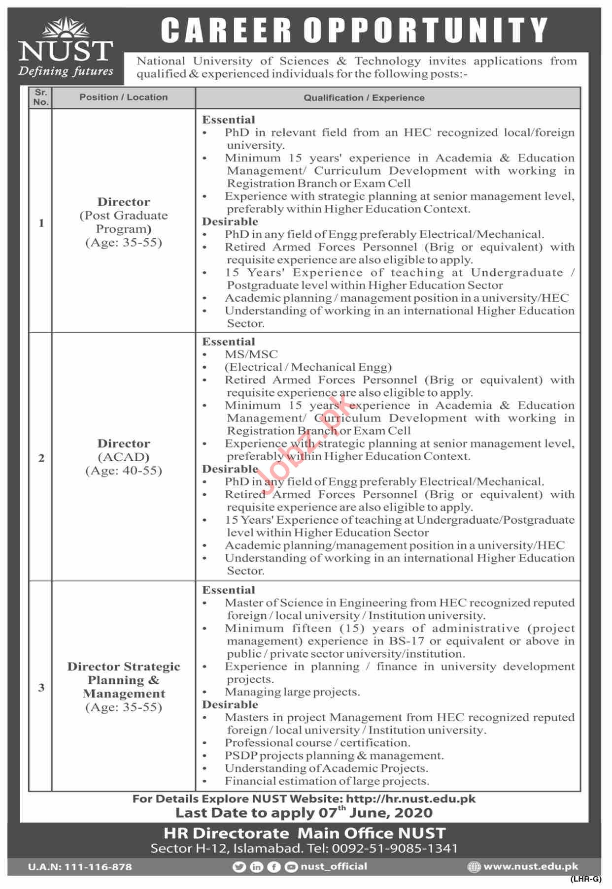 NUST University Islamabad Jobs 2020 for Directors