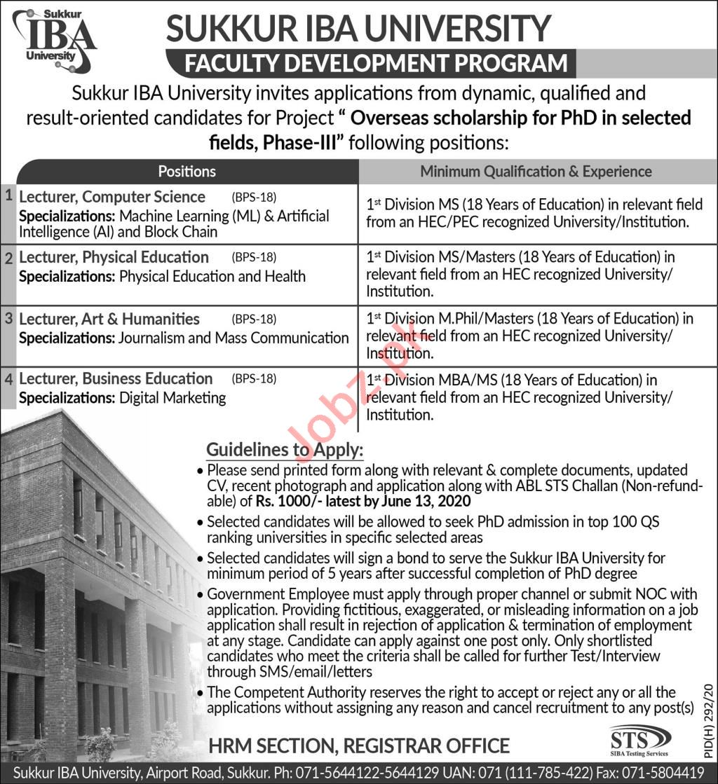 Sukkur IBA University Jobs 2020 for Lecturers