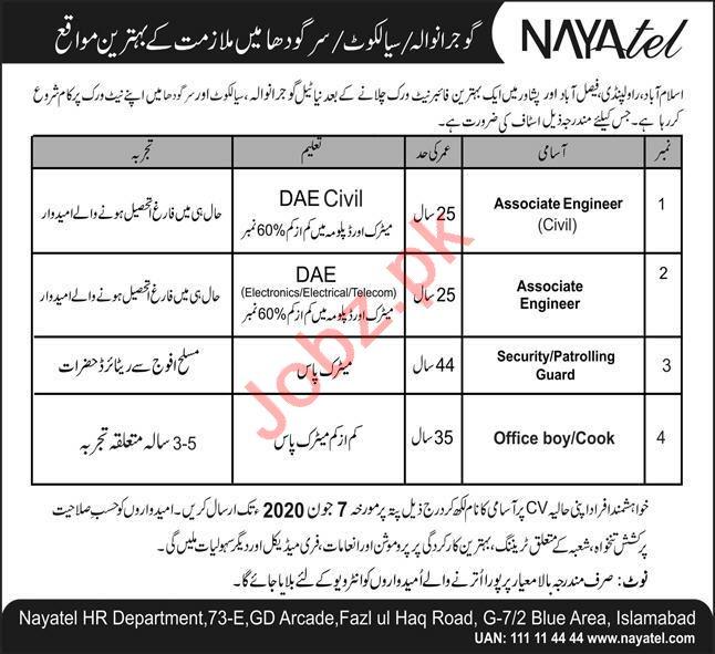 Nayatel Gujranwala Jobs 2020 for Associate Engineers
