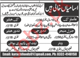 General Manager & Master Cook Jobs in Karachi Foods