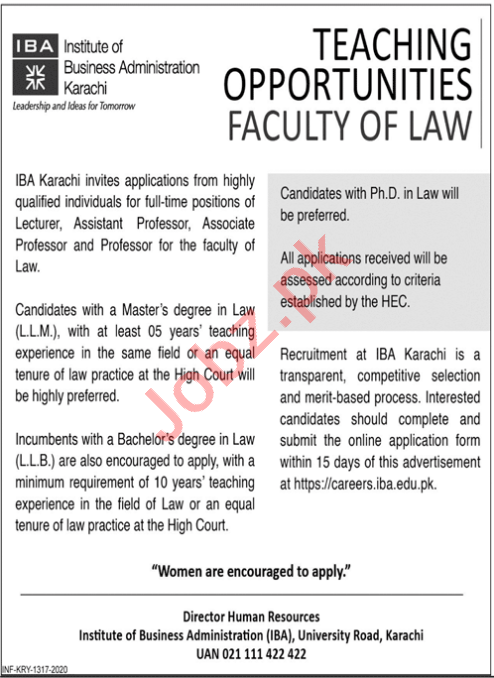 Institute of Business Administration IBA Law Faculty Jobs