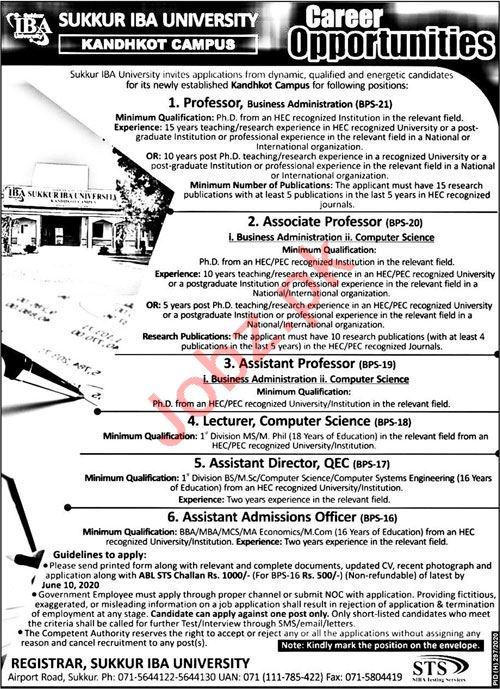 Sukkur IBA University Kandhkot Jobs 2020 for Professors