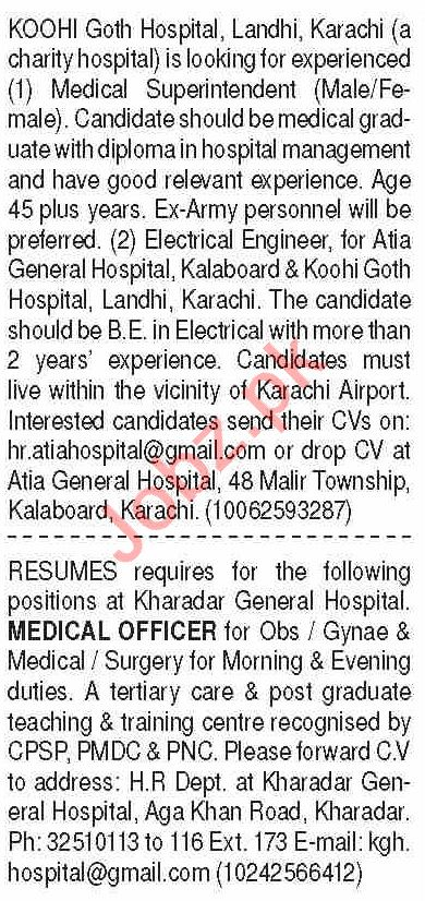 Medical Superintendent & Medical Officer Jobs 2020