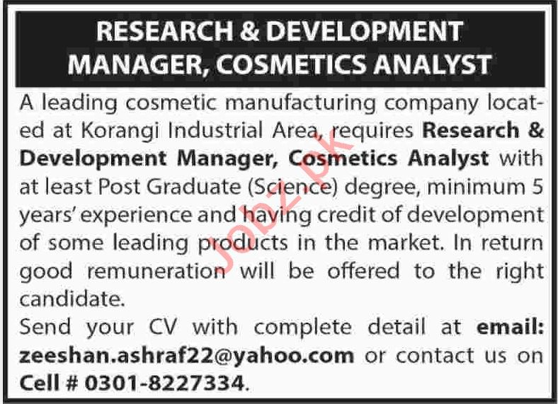 Research & Development Manager Jobs 2020 in Karachi