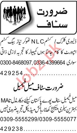 Delivery Clerk & Receptionist Jobs 2020 in Lahore