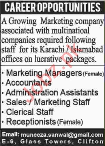 Marketing Manager & Accountant Jobs 2020 in Karachi