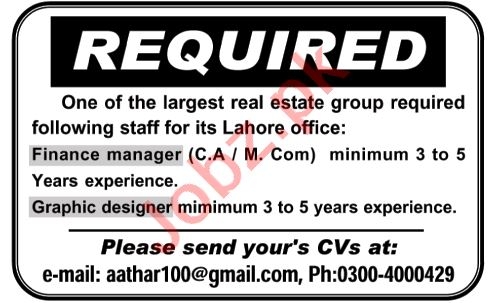 Finance Manager & Graphic Designer Jobs 2020 in Lahore