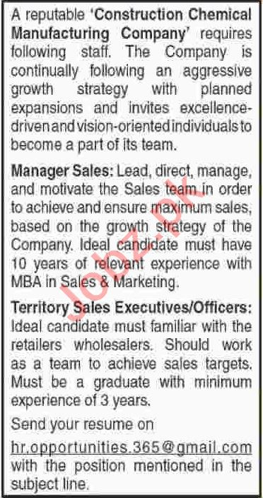 Manager Sales & Territory Sales Executive Jobs 2020