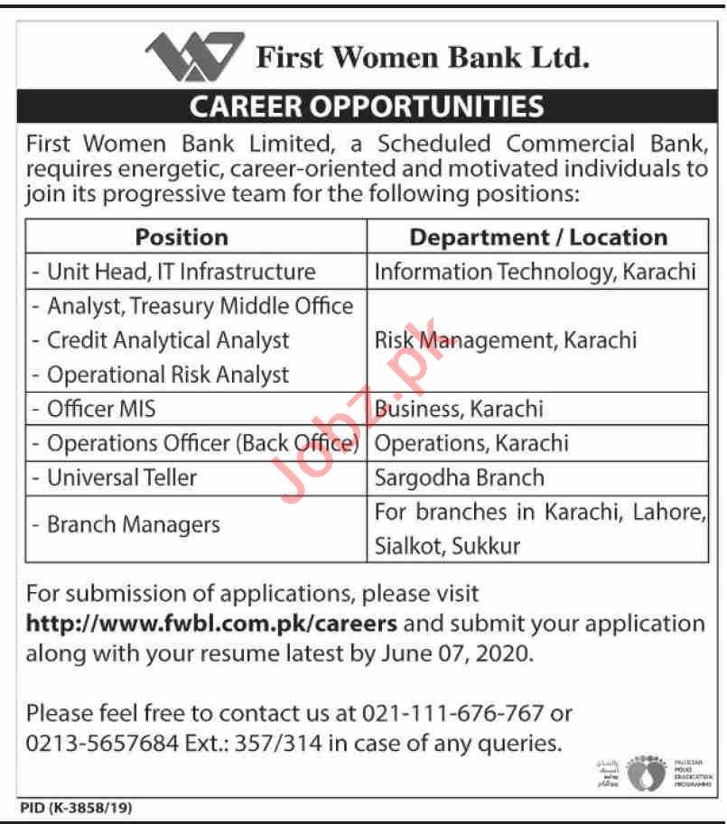 First Women Bank Limited FWBL Karachi Jobs 2020