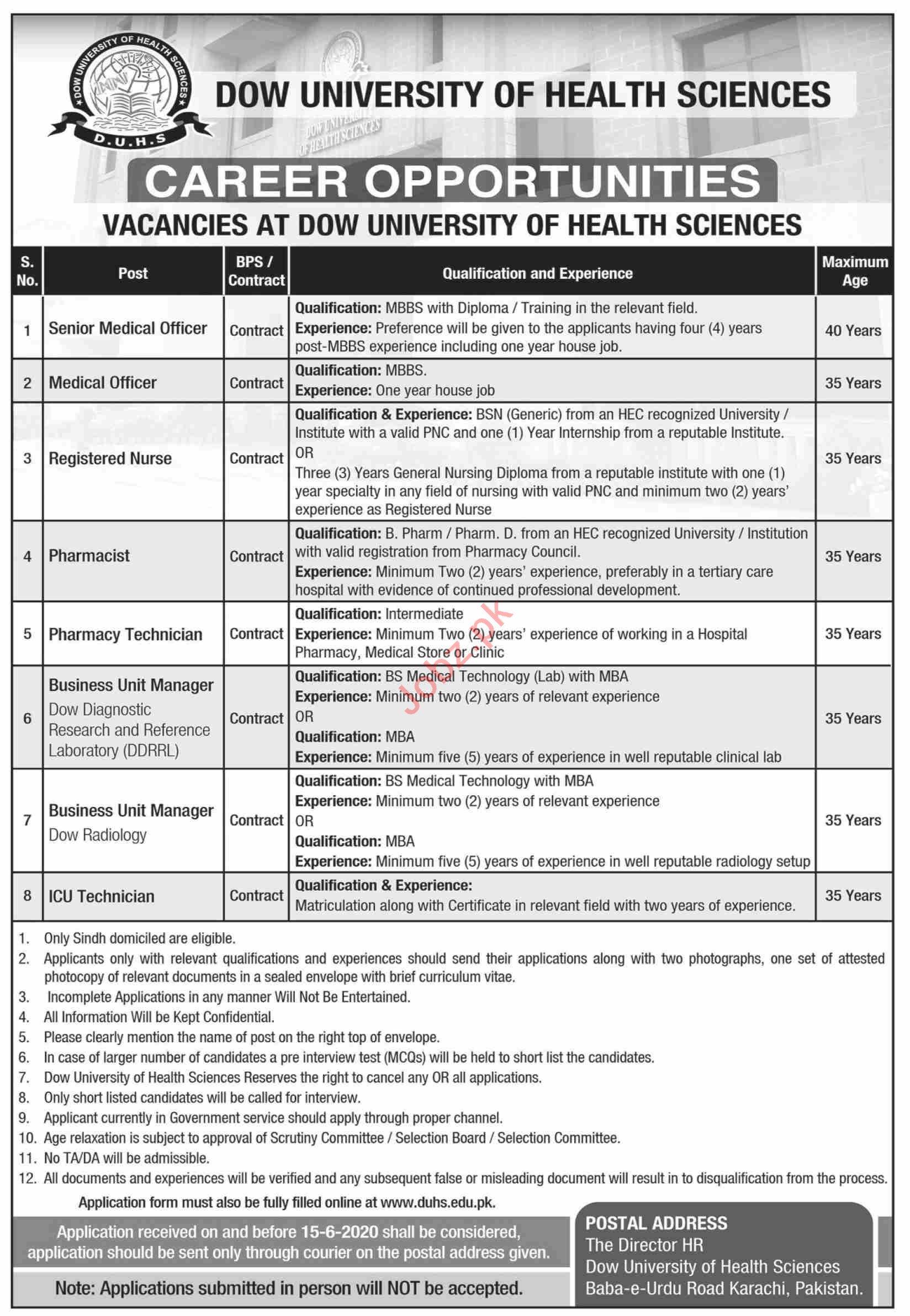 Dow University of Health Sciences DUHS Karachi Jobs 2020