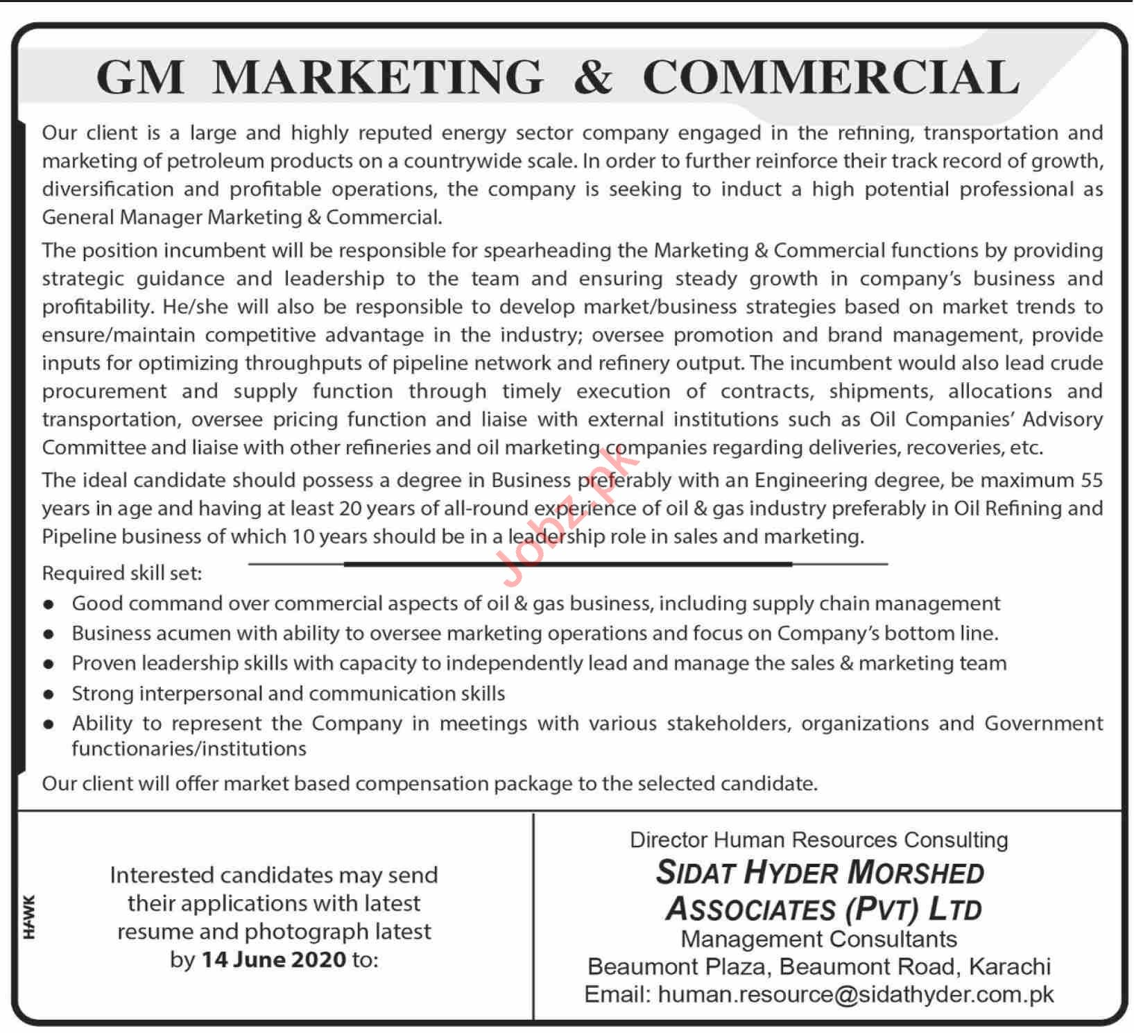GM Marketing & Commercial Jobs 2020 in Karachi