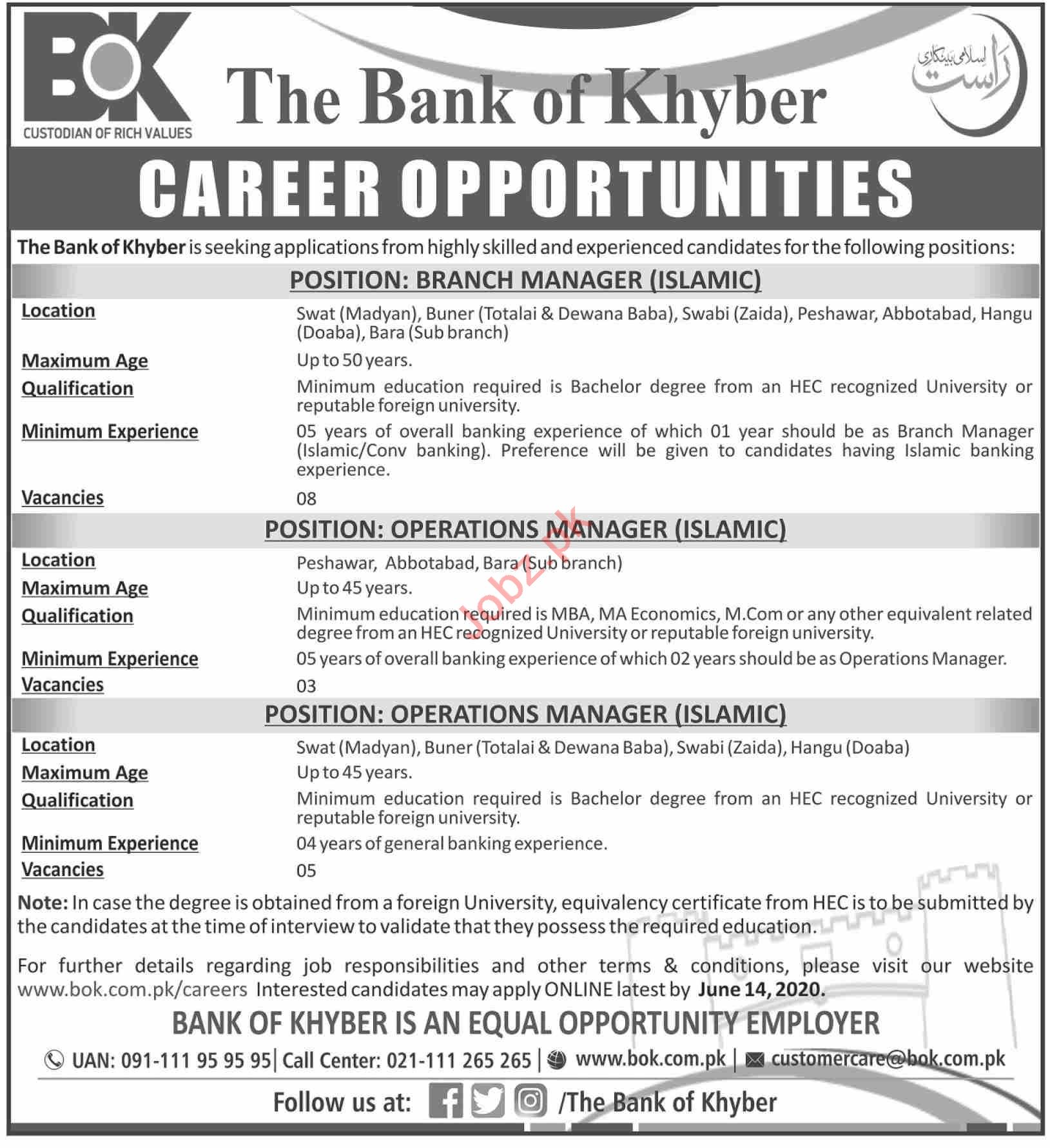 The Bank of Khyber BOK Jobs 2020 for Branch Managers