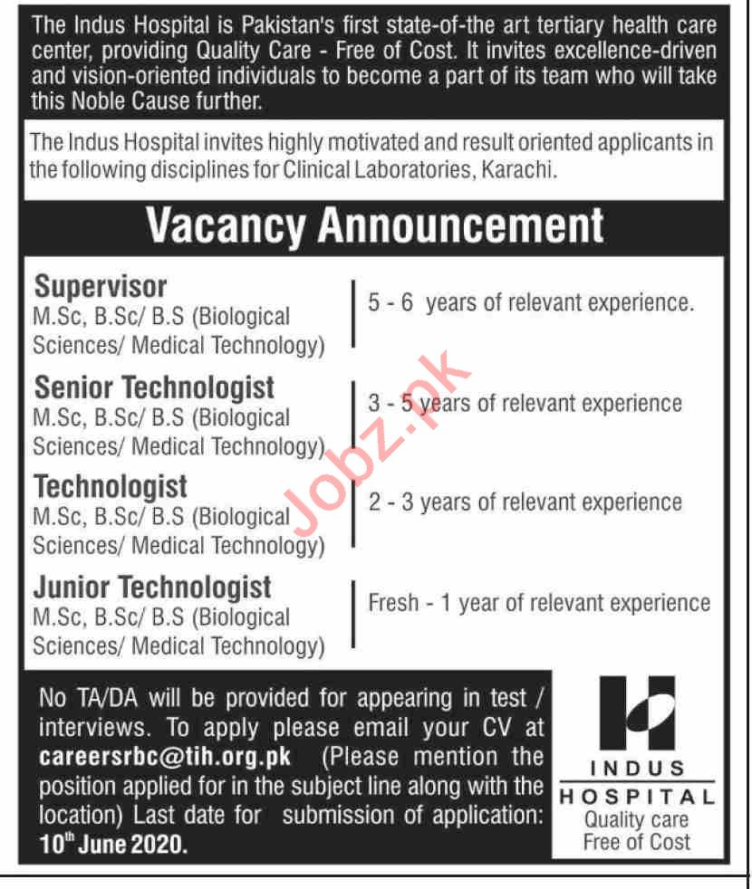 The Indus Hospital Karachi Jobs 2020 for Supervisor
