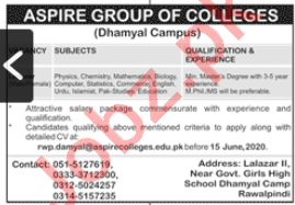 Aspire Group of Colleges Dhamyal Campus Jobs 2020