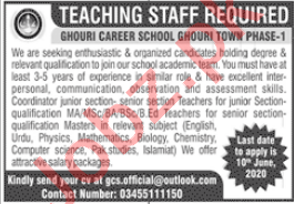 Ghauri Career School Ghauri Town Phase 1 Islamabad Jobs 2020