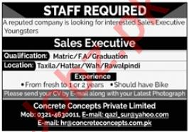 Concrete Concepts Rawalpindi Jobs 2020 for Sales Executive