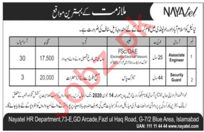 Nayatel Blue Area Islamabad Jobs 2020 for Engineers