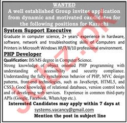 System Support Executive & PHP Developer Jobs 2020