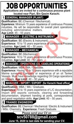 Manager Export & Manager Instrument Jobs 2020 in Karachi