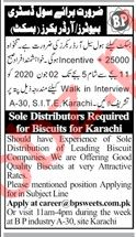 BP Sweets Karachi Jobs 2020 for Distributor & Order Booker
