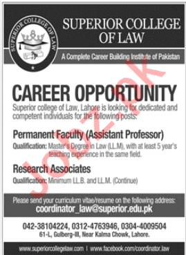 Superior College of Law Lahore Jobs 2020 for Asst Professor