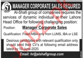 Al Shafi Group of Companies Jobs for Manager Corporate Sales