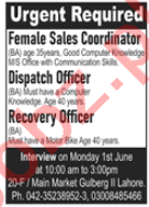 Female Sales Coordinator & Dispatch Officer Jobs 2020
