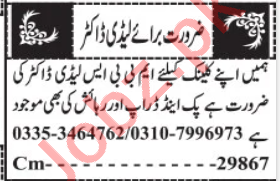 MBBS Lady Doctor Jobs 2020 in Quetta
